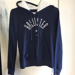 Hollister blue hoodie with fleece lined hood S